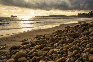 USA, California. Santa Barbara County, Montecito, Butterfly Beach eroded by king tides. by Alison Jones