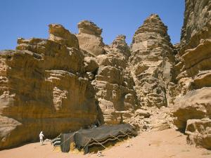 Bedouin Tent and Rocks of the Desert, Wadi Rum, Jordan, Middle East by Alison Wright