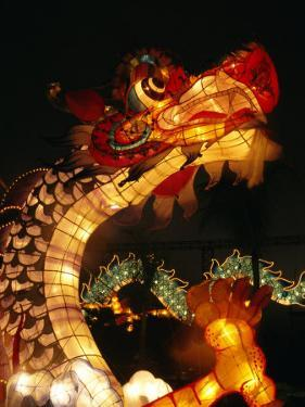 Dragon Lights at the Star Ferry Terminal on Chinese Takeover, Hong Kong, China, Asia by Alison Wright