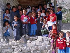 Group of Children Outside School, Gulmit, Upper Hunza Valley, Pakistan, Asia by Alison Wright