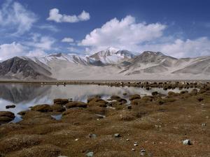 High Mountain Lake and Mountain Peaks, Beside the Karakoram Highway, China by Alison Wright