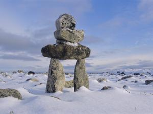 Inukshuk Marker at Aupalaqtuq Point, Cape Dorset, Baffin Island, Canadian Arctic, Canada by Alison Wright
