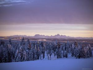 Sunset on Grand Tetons from Two Tops, West Yellowstone, Montana, USA by Alison Wright