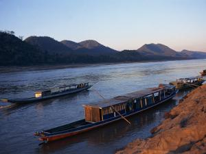 View of Mekong River at Sunset, Luang Prabang, Laos, Indochina, Southeast Asia by Alison Wright