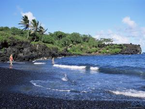 Walanapanapa Black Sand Beach, Hana Coast, Maui, Hawaii, Hawaiian Islands, USA by Alison Wright