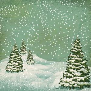 Vintage Postcard with Christmas Trees, Snow (Jpeg Version) by Alkestida