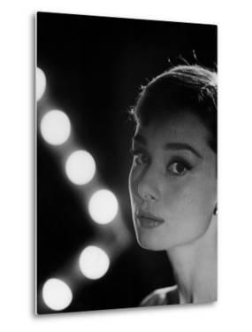 Actress Audrey Hepburn Backlit by V Pattern of 6 Klieg Lights by Allan Grant