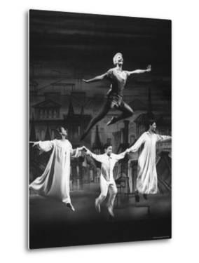"Actress Mary Martin Gives kids a Flying Lesson in the Broadway Production of Musical ""Peter Pan"" by Allan Grant"