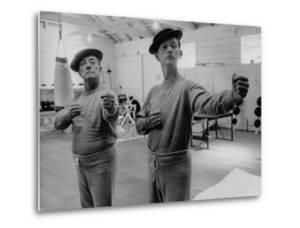 Buster Keaton and Donald O'Connor Holding Up 'Dukes', Practicing for Movie Based on Keaton's Life by Allan Grant