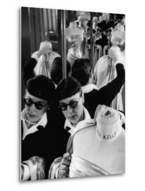 Designer Edith Head Holding Up Material, Working on Costume for a Movie by Allan Grant