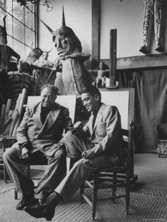 Diego Rivera in His Studio with Comedian Cantinflas