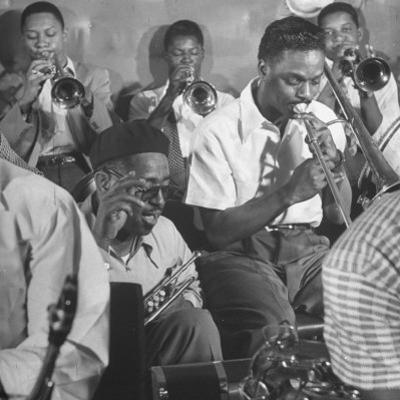"Dizzy Gillespie, ""Bebop"" King, with His Orchestra at a Jam Session by Allan Grant"