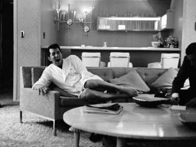 Entertainer Dean Martin Yawning at Home
