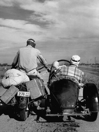 Family Driving on Motorcycle and Sidecar from Omaha, Nebraska to Salt Lake City, UT