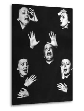 French Nightclub Singer Edith Piaf Singing During Her Performance at the Versailles Nightclub by Allan Grant