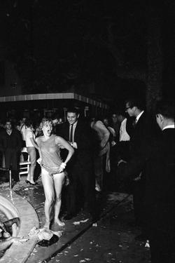 Guests Jump in Swimming Pool at the Last Party at the 'Garden of Allah,' Los Angeles, August 1959 by Allan Grant