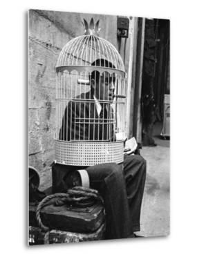 """Jerry Lewis Clowning around by Wearing a Birdcage over His Head During Filming of """"The Stooge"""" by Allan Grant"""