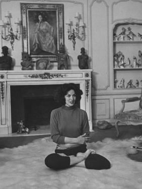 Mexican Actress Maria Felix Doing Yoga Exercises by Allan Grant