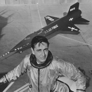 Pilot Scott Crossfield Standing in Front of the X-15 by Allan Grant