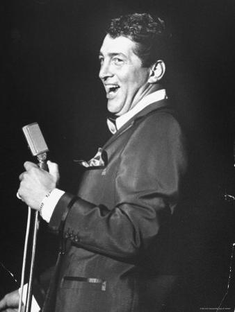 Singer Dean Martin Performing at the Sands Hotel