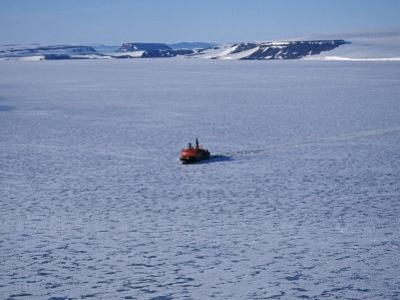 Franz Josef Land, Aerial View of Russian Nuclear-Powered Icebreaker 'Yamal' in Sea-Ice, Russia