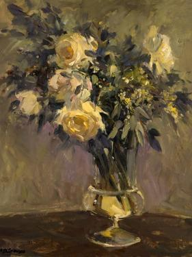 Yellow Roses In Glass Vase by Allayn Stevens