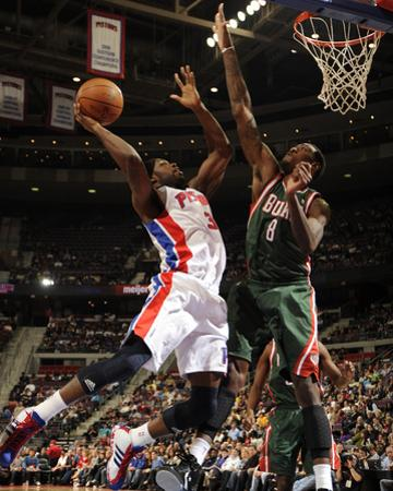 Milwaukee Bucks v Detroit Pistons: Rodney Stuckey and Larry Sanders by Allen Einstein