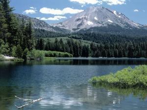 Lassen Peak (10,457') and Manzanita Lake, CA by Allen Russell