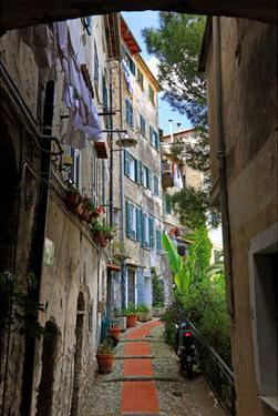 Alley in the Old Town of Ventimiglia, Province of Imperia, Liguria, Italy