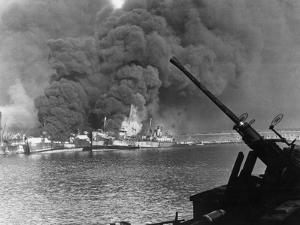 Allied Ships Burning in Battle