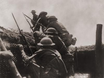 Allied Soldiers Go over the Top During World War I, Ca. 1917