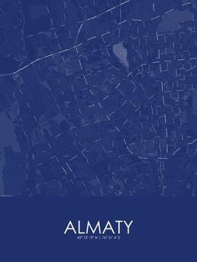 Almaty, Kazakhstan Blue Map