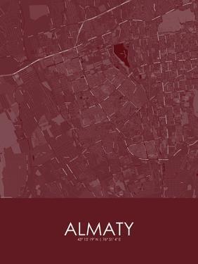 Almaty, Kazakhstan Red Map