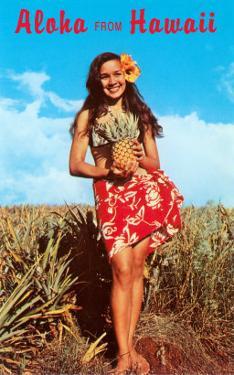 Aloha from Hawaii, Girl with Pineapple in Field