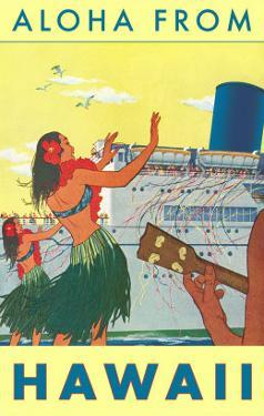Aloha from Hawaii, Hawaiian Girls Greeting Cruise Ship