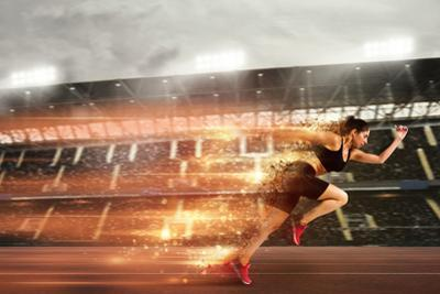 Woman Runs in a Race to the Stadium by alphaspirit