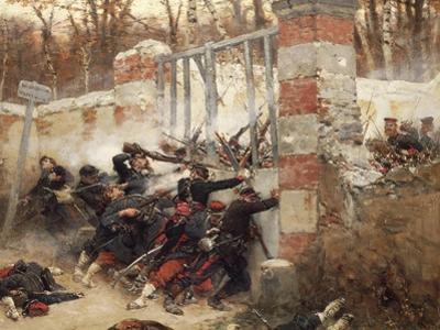Defence of Longboyau's Gate, Chateau of Buzenval, October 21, 1870 by Alphonse De Neuville