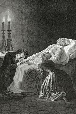 Mort De Jean Valjean Entre Cosette Et Marius - Illustration from Les Misérables,19th Century by Alphonse Marie de Neuville