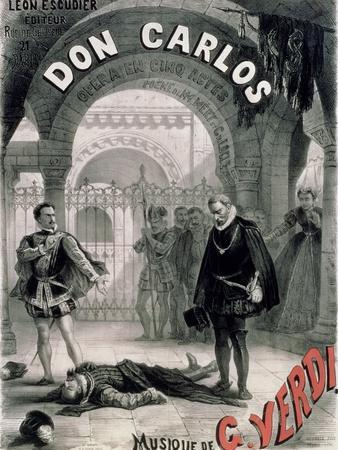 """Poster Advertising """"Don Carlos,"""" Opera by Giuseppe Verdi (1816-1901) Engraved by Telory"""