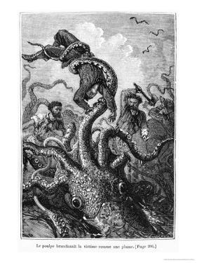 "The Octopus Attacking the Nautilus, Illustration from ""20,000 Leagues under the Sea"" by Alphonse Marie de Neuville"