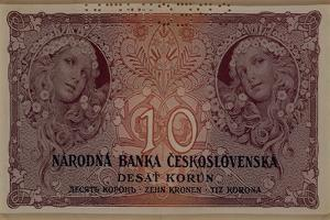 10 Crown Banknote of the Republic of Czechoslovakia, 1920 by Alphonse Mucha