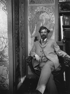 Alphonse Mucha (1860-1939) in His Studio, c.1898