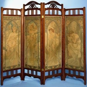 An Art Nouveau Screen by Alphonse Mucha