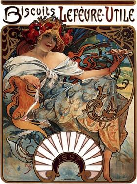Biscuits Lefevre-Utile, 1896 by Alphonse Mucha