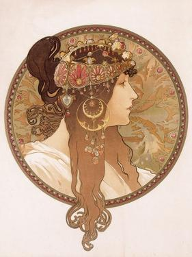 Byzantine Head of a Brunette; Tete Byzantine D'Une Brunette, C.1897 (Lithograph in Colours) by Alphonse Mucha