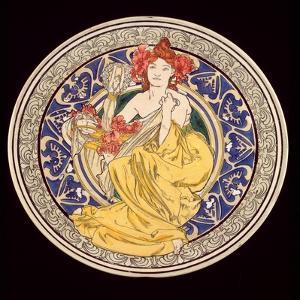 Decorative Plate with the Symbol of the Paris International Exhibition, 1897 by Alphonse Mucha