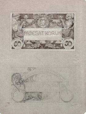 Design for 50 Crown Banknote of the Republic of Czechoslovakia, 1930 by Alphonse Mucha