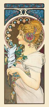 Feather, Art Nouveau, La Belle Époque by Alphonse Mucha