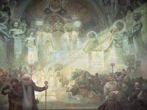 Holy Mount Athos, from the 'Slav Epic', 1926 by Alphonse Mucha