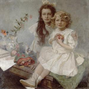Jaroslava and Jiri - the Artist's Children, 1918 by Alphonse Mucha